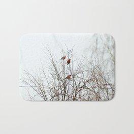 Bullfinches in bush Bath Mat