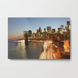 Manhattan Bridge - Long Exposure Metal Print