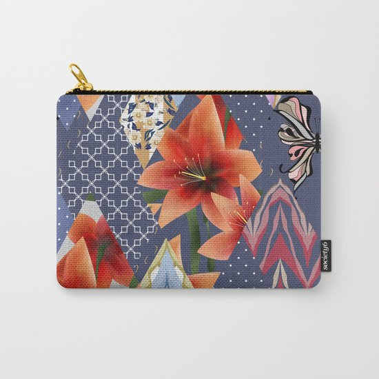 "A series of ""Favorite patchwork"". Lilies with blue fabrics. Carry-All Pouch"