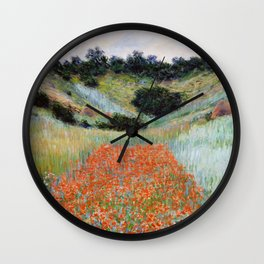 Poppy Field in a Hollow near Giverny by Claude Monet Wall Clock