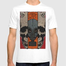 Split Skull Mens Fitted Tee White MEDIUM