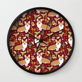 Corgi Margarita Party Wall Clock