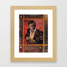 Red Johnny Cash Framed Art Print