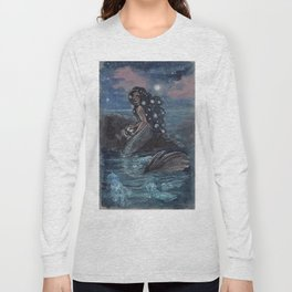 Evening Glow Mermaid and Firefly Squid Long Sleeve T-shirt
