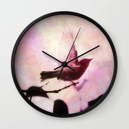 Boho Bird Taking Flight Pink Purple Glow Wall Clock