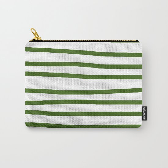 Simply Drawn Stripes in Jungle Green Carry-All Pouch
