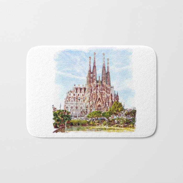 La Sagrada Familia watercolor Bath Mat