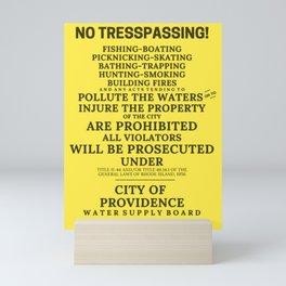Scituate Reservoir, Providence Water Supply Board No Trespassing Sign, Rhode Island Artboard Mini Art Print