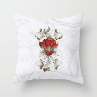 roman Throw Pillows featuring Roman Marble by Eleaxart
