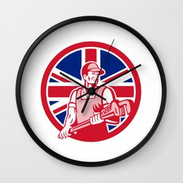 British Plumber and Gasfitter Union Jack Icon Wall Clock