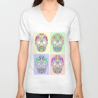 sugar skulls V-neck T-shirts featuring Sugar Skulls by TheFinalPiece