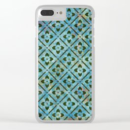 blue green pattern texturized Clear iPhone Case
