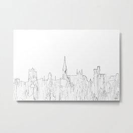 Cork, Ireland Skyline B&W - Thin Line Metal Print