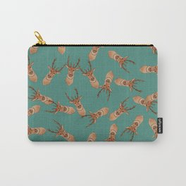 Deer Head | Random Repeating Pattern | Green Carry-All Pouch