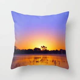 Bright sunrise on the water Throw Pillow
