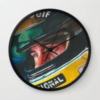 senna Wall Clocks featuring Ayrton Senna by Sprite Ideas