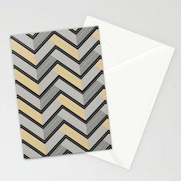 Grays - Black Yellow-Green Horizontal Ripped Chevron Pattern Stationery Cards