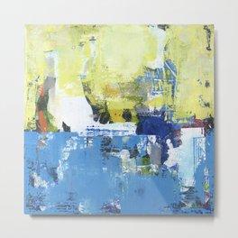 Parakeet Blue Yellow Abstract Art Metal Print