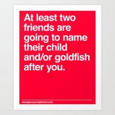Baby/Goldfish names Art Print