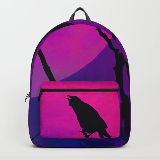 The Crow And The Pink Moon Backpack