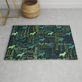Bull Terrier Dog Word Art pattern Rug