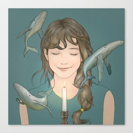 GIRL WITH WHALES Canvas Print