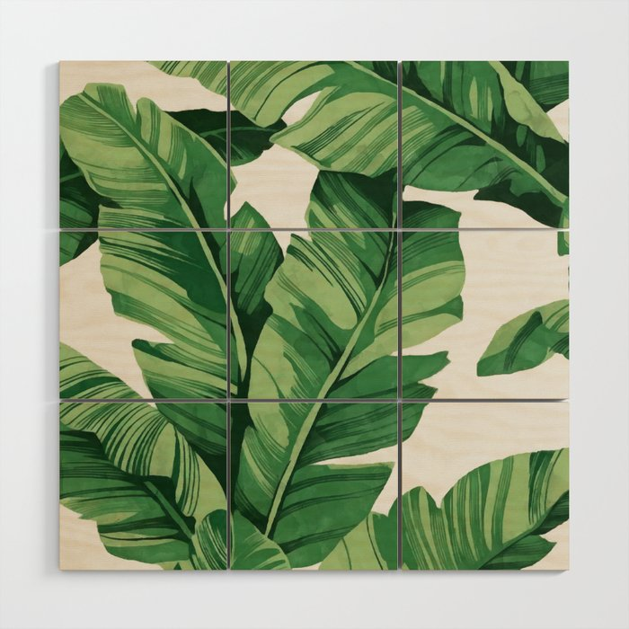 Tropical Banana Leaves Wood Wall Art By Catyarte