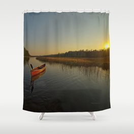 Red Canoe at South River Shower Curtain