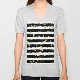 Modern black watercolor stripes chic gold confetti Unisex V-Neck