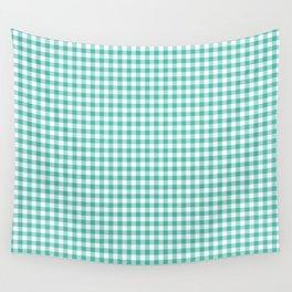 Modern green white checker picnic stripes pattern Wall Tapestry