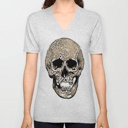 Full Skull With Rotting Flesh Vector Unisex V-Neck