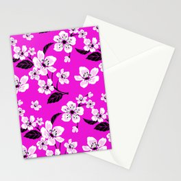 Light Purple & White Sakura Cherry Tree Flower Blooms on Dark Fuchsia Purple Hawaiian Floral Pattern Stationery Cards