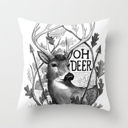 Oh Deer B&W Throw Pillow