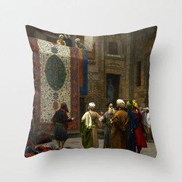 """Jean-Léon Gérôme """"Carpets - The Carpet Merchant"""" Throw Pillow"""
