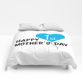 Happy First Mother's day Blue Balloon Comforters