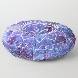 Om Mandala Purple Lavender Blue Galaxy Floor Pillow