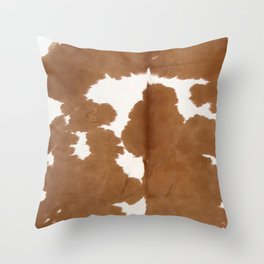 Tan and white cowhide texture Throw Pillow