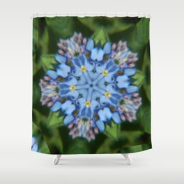 Fluid Nature - Forget Me Not - Abstract Kaleidoscope Shower Curtain
