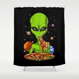 Alien Eating Pizza Shower Curtain