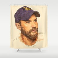 tom hiddleston Shower Curtains featuring Tom by Roxy Color