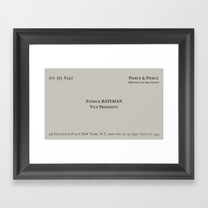 American psycho patrick bateman business card framed art print by american psycho patrick bateman business card framed art print colourmoves