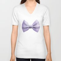 bow V-neck T-shirts featuring Bow by Naomi Shingler