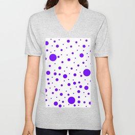 Mixed Polka Dots - Indigo Violet on White Unisex V-Neck