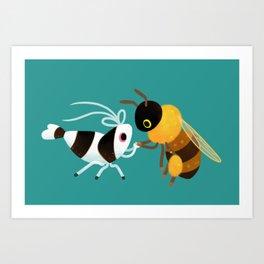 Bee & bee shrimp Art Print