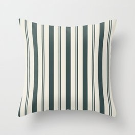 Night Watch Color of the Year PPG1145-7 Thick and Thin Vertical Stripes on Horseradish Off White Throw Pillow