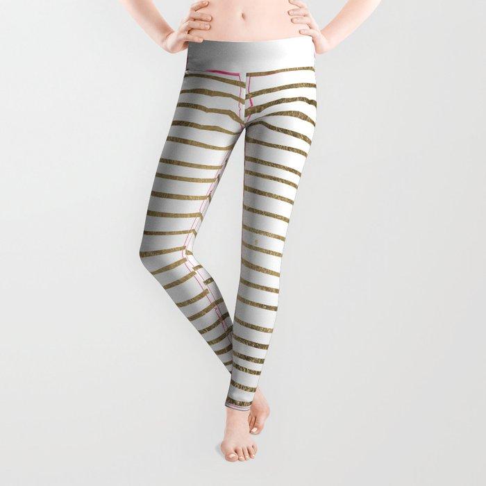 White minimalist faux gold elegant modern stripes Leggings
