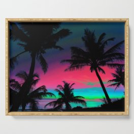 Deep Pink Palm Tree Sunset Serving Tray