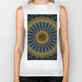 Mandala in golden and blue tones Biker Tank