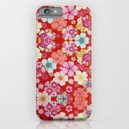 Crimson Floral Chirimen iPhone Case