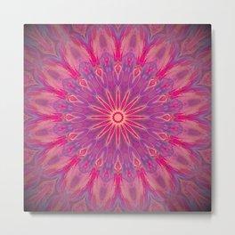 Bright Pink Purple Mandala Design Metal Print